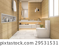 spacious and beautiful toilet with white wood desi 29531531