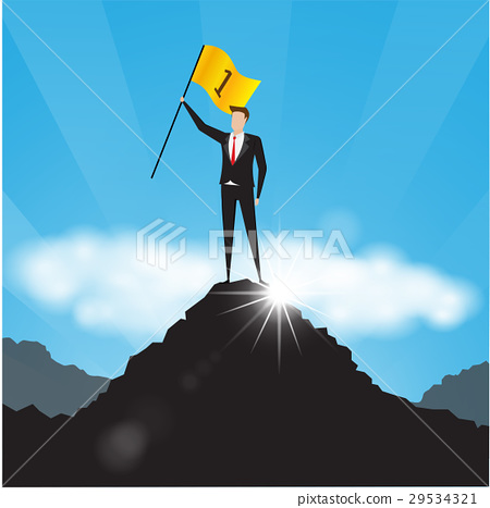 usinessman holds a golden flag on top of mountain 29534321