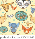 Seamless pattern with cute wild animals 29535941