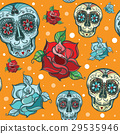 Vector seamless pattern with sugar skull and roses 29535946