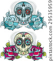 Vector sugar skull with roses 29535959