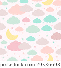 Childish seamless background moon clouds and stars 29536698