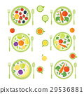 Plates with fruits and vegetables isolated 29536881