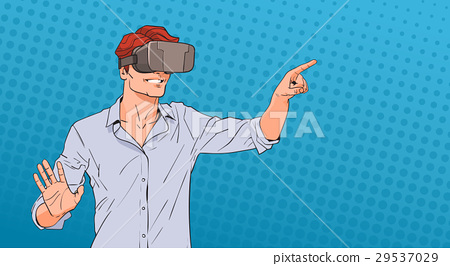 Man Wear Virtual Reality Digital Glasses Pop Art 29537029