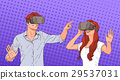 Woman And Man Wear Virtual Reality Digital Glasses 29537031