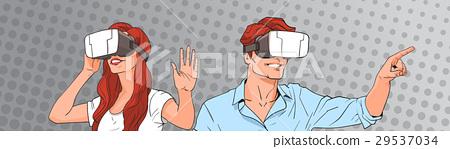 Woman And Man Wear Virtual Reality Digital Glasses 29537034