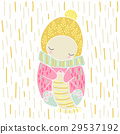 Cute fairytale character knits a scarf vector 29537192