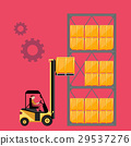 Forklift truck with boxes on pallet. 29537276