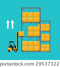 Forklift truck with boxes on pallet. 29537322