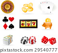 Playing cards, Roulette Wheel and gambling chips 29540777