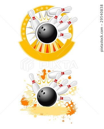 Bowling Strike emblems round shape  29540838