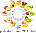 Table of vitamins - set of food icons organized  29540840
