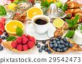 Breakfast coffee croissants muesli fresh fruits 29542473