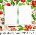 Open recipe book fresh vegetables Healthy food 29542573