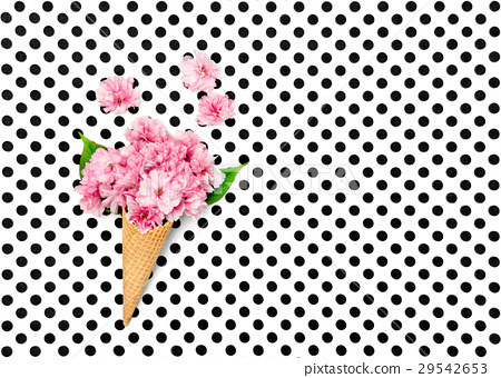 Cherry tree flowers ice cream waffle cone minimal 29542653