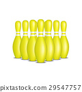 Bowling pins in yellow design with white stripes 29547757