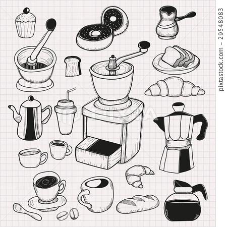 doodle coffee set 29548083