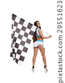 Woman with checkered race flag isolated on white  29551623