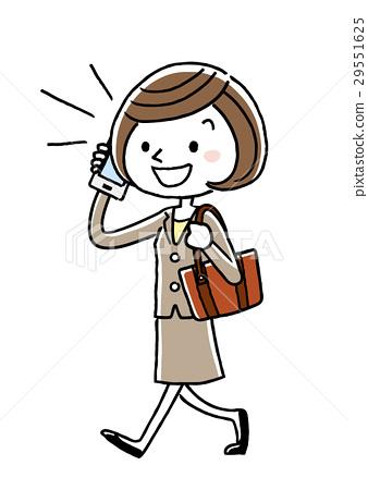 Business woman: telephone, walking 29551625