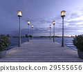 wood pier near sea with lamp post twilight scene 29555656
