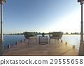 beach armchair set on wood terrace near sea 29555658