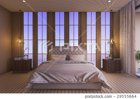 Luxury Bedroom In Twilight Scene Stock Illustration 29555664 Pixta