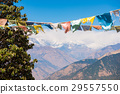 color prayer flags on the mountain in Nepal 29557550