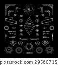Set of linear thin line geometric shape vintage 29560715