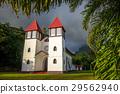 Haapiti church in Moorea island jungle, landscape 29562940