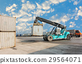 Container unloading truck in logistics yard. 29564071
