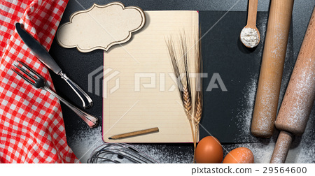 Empty Recipe Book on a Baking Background 29564600