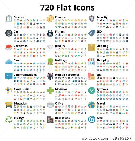 720 Flat Icons Set 29565157