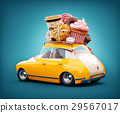Cute fantastic car with sweets and coffee on top. 29567017