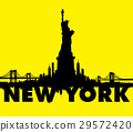 New York City skyline Statue of liberty Vector 29572420