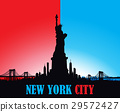 New York City skyline Statue of liberty Vector 29572427