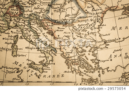 Map Of Italy Greece.Antique Old Map Italy And Greece Stock Photo 29573054 Pixta