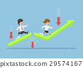 Business People Run to Top of The Graph. 29574167