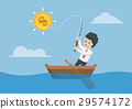 Businessman catching dollar coin by fishing rod. 29574172