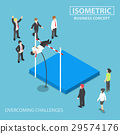 Isometric businessman doing the pole vault 29574176