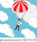 Isometric businessman flying with parachute 29574178