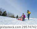 family, winter, playing 29574742