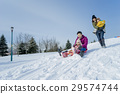 family, winter, playing 29574744