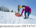 family, winter, playing 29574747