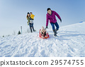 family, winter, playing 29574755