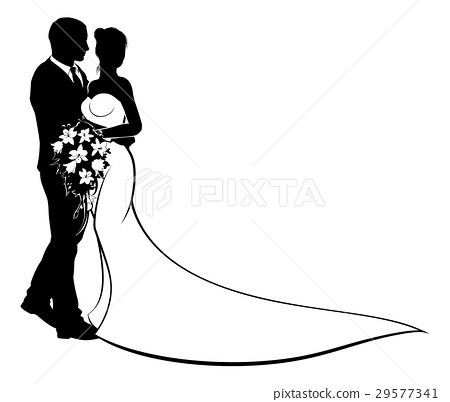 Wedding Bride and Groom Silhouette 29577341