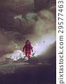 astronaut walking through smoke on planet 29577463