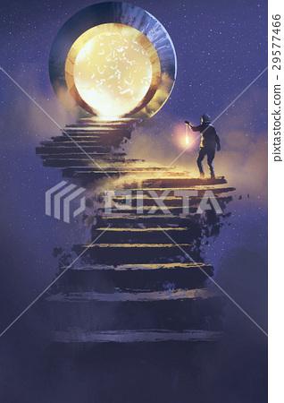 man with a lantern walking on stone staircase 29577466
