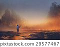 man fishing in the lake 29577467