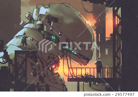 mechanicals repairing the giant robot in factory 29577497