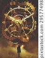 man looking at the big golden clockwork 29577498